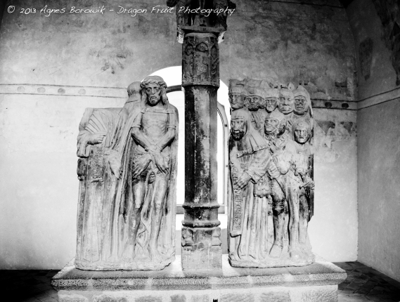 Ancient preserved sculptures inside the castle.