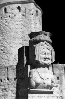 Sculpture outside Carcassonne walls.
