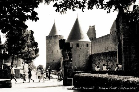 Entrance to La Cité, in Carcassonne France.