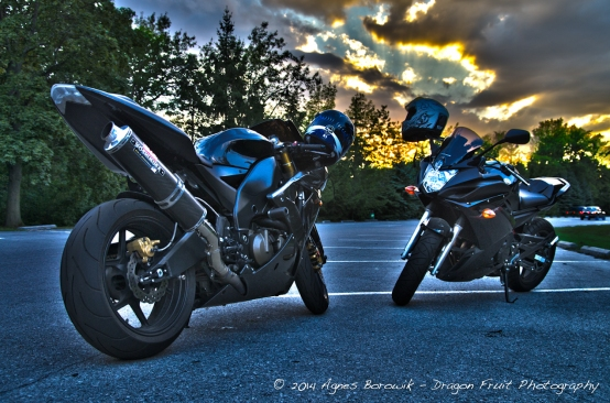 Our two Motorcycles at sunset