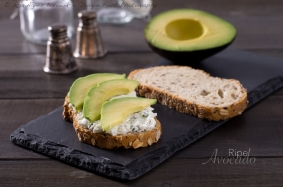 Healthy and delicious goat cheese spread with avocado