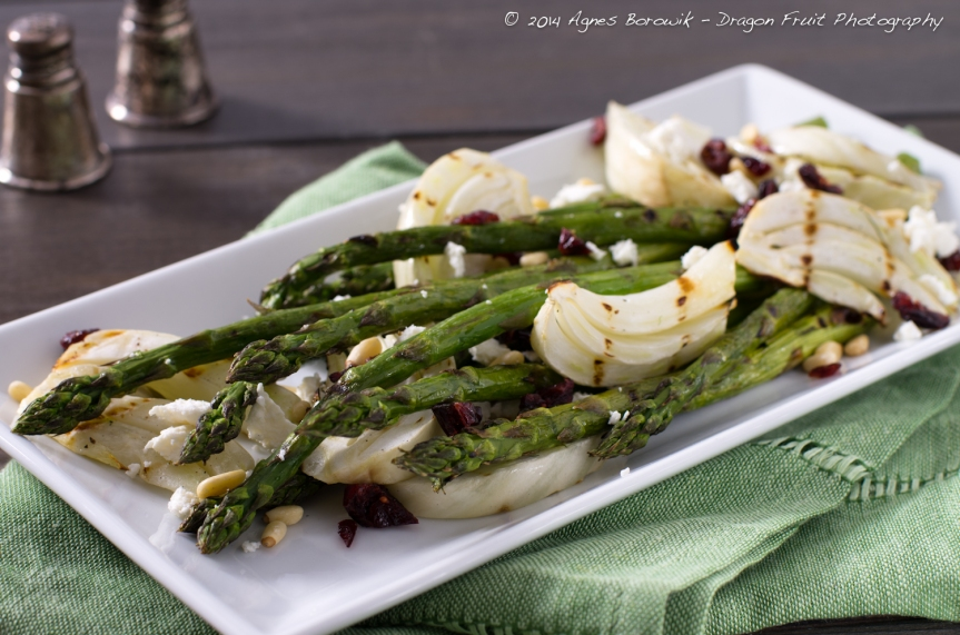 Grilled asparagus and fennel with honey goat cheese and pine nuts