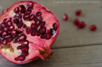 Delicious, juicy pomegranate cut in half