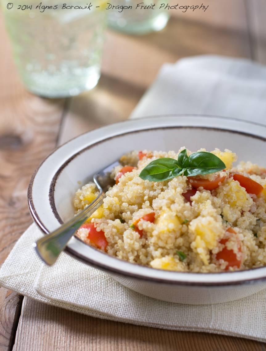 Peach and cherry tomato quinoa salad