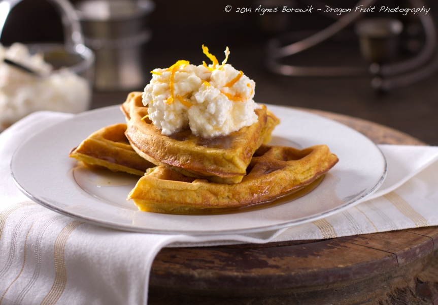 Wheat-free Pumpkin Spiced Waffles with Orange and Maple Ricotta ...
