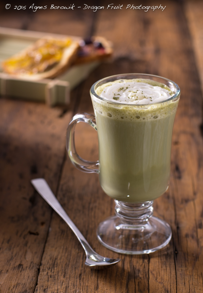 Almond coconut milk green tea matcha latte.
