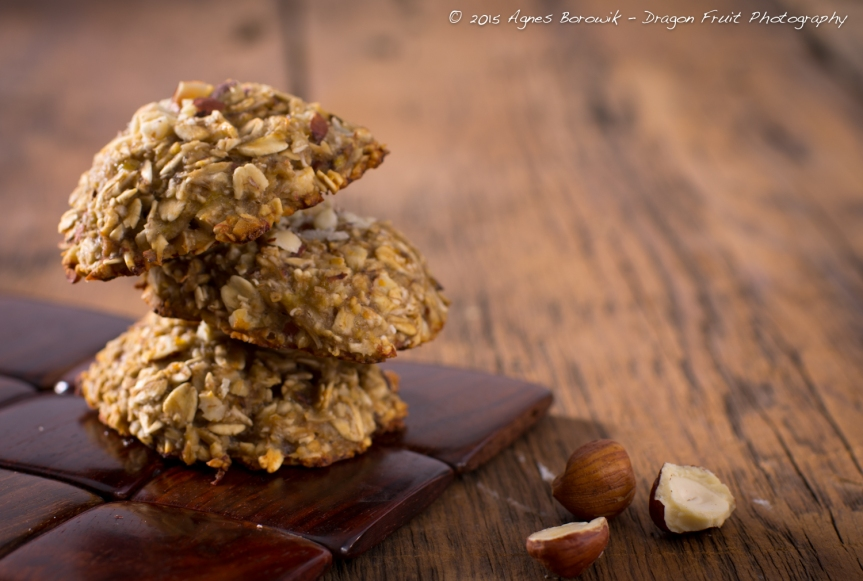 Three ingredient cookies - banana, oats, chopped hazelnuts