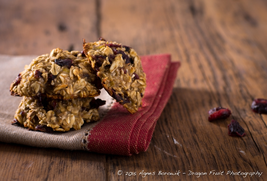 Three ingredient cookies - banana, oats, cranberries